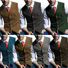 Mens Vintage Tweed Waistcoat Herringbone Wool Vests Suit Notch Lapel Slim S-3XL