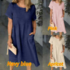 Women Short Sleeve Cotton Smock Dress Summer Loose Holiday Mini Shirt Dress Plus
