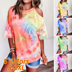 Womens Cold Shoulder Summer T-shirts Ladies Casual Loose Tie-dye Blouse Tee Tops