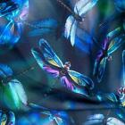 Kyпить Dragonflies With Iridescent Wings on a Black Background, Cotton BTHY or BTY на еВаy.соm