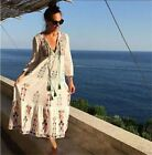 Women Hippie Mexican Floral Embroidered Deep V Neck BOHO Maxi Loose Dress