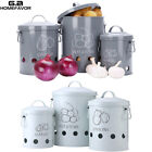 Set of 3 Potato Onions Garlic Canisters Jars Kitchen Food Storage Tin Containers