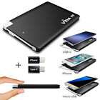 Ultra Slim Pocket Size Power Bank External Battery Pack Portable USB Charger UK