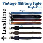 Vintage Style Single Wrap-Around Military Watch Straps 14-20mm S/S & GP Buckles