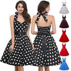 GK Women's Midi Dress Backless Swing Polka Dots Halter Evening Cocktail Dresses