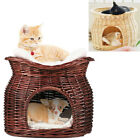 43 x 35cm Cat Basket Wicker 2 Layer Pet Raised Bed Play House Condo Nap Bed Fun