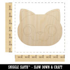 Round Cat Face Derpy Unfinished Wood Shape Piece Cutout for DIY Craft Projects