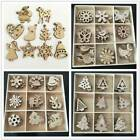 50pcs Wood Christmas Tree Ornament Wooden Hanging Pendants Home Party Decoration
