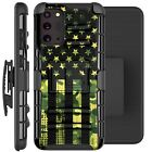 Holster Case For Galaxy Note20/Note 20 Ultra 5G Phone Cover- GREEN CAMO 1/2 FLAG