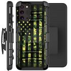 Holster Case For Galaxy Note20/ Note 20 Ultra 5G Phone Cover- GREEN CAMO US FLAG