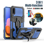 For Samsung Galaxy A11 A50 A20 Case Shockproof Stand Hybrid Clip Cover + Glass