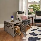 Large Dog Wood Crate End Table Indoor House Pet Shelter Big Dogs Cage Kennel