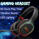 LED bluetooth Wireless Gaming Headset Headphones Earphones Mic For PC Cell Phone