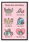 Pusheen Places Cats Belong Poster MAGNETIC NOTICE BOARD Inc Magnets | UK Seller