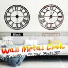 31'' Retro Style Wall Clock Big Roman Numerals Giant Open Face Metal Hom
