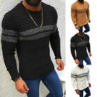 Men's Warm Long Sleeve Pullover Stripeds Knitted Winter Crew Neck Sweaters