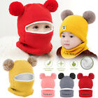 Winter Toddler Baby Kid Boy Girl Warm Knit Beanie Cap Hat Skull Cover Scarf Set
