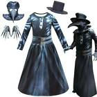 Steampunk Plague Doctor Costumes Kids Bird Beak Mask Hat Gloves Fancy Outfit Set