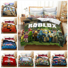 3D Roblox Series Printing 3/4 Piece Set Bedding Sheet Quilt Cover Pillow Case UK
