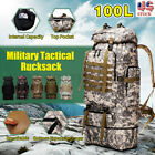 100L Military Rucksack Large Waterproof Tactical Outdoor Backpack Travel Hiking