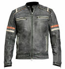 Halloween 50% Off Retro 2 Cafe Racer Distressed Black Leather Jacket