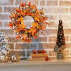 45CM Halloween Thanksgiving Pumpkin Wreath Autumn Maple Leaf Garland Door Decors