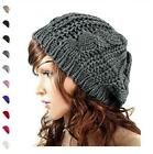 Winter Cap Winter Warm Cable Knitted Crochet Beanie Chunky Stretch Hat For Women