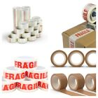 48MM X 66M FRAGILE/CLEAR/BROWN STRONG PARCEL PACKING TAPE ROLL NO-NOISE BOX SEAL