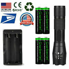 T6 LED Flashlight +18650 Li-ion Battery Rechargeable Batteries +USA Dual Charger