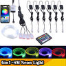 1/2/3/4/5/6 Pc RGB LED Car Atmosphere Light Strip Wire Optic Fiber  UK Auto SUV