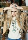 Women's New Tan Suede Leather Jacket Native Beaded & Fringes Western Wear Coat