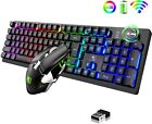 Rechargeable Wireless RGB LED Backlit Gaming Keyboard and Mouse Set For PC PS4