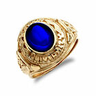 Jewelco London Herren 9ct Gold Blau Cz Cabochon Solitär Universität College Ring