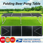8FT Beer Pong Table LED Lights Outdoor Picnic Beer Table w/Optional Cup Hole