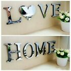 4 Letters Love Home Furniture Mirror Tiles Self-adhesive Art Decor Wall Sticker