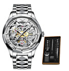 OUPINKE Top Brand Luxury Men Automatic Mechanical Watch Skeleton orignal 100% US