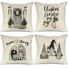 Set of 4 Christmas Pillow Covers Winter Holiday Farmhouse Christmas Decorations