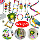8/10 Pack/Set Beaks Metal Rope Small Parrot Toys Budgie Cockatiel Cage Bird Toy