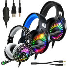 Gaming Headset Mic Stereo Bass Surround LED Headphone 3.5mm For PS5/Xbox One/PC