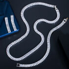 3Pcs White CZ Long Baguette Necklace Earrings Set for Wedding Jewelry Accessory