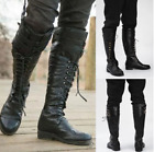 Medieval Knight Lace Knee High Boots Steampunk Renaissance Cosplay Leather Shoes