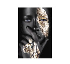 Canvas+Poster+Living+Room+Art+African+Woman+Picture+Black+%26+Gold+Oil+Painting+