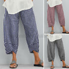 Women's Hippie Baggy Oversize Harem Plaid Cropped Casual Pants Leggings Trousers