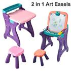2 in 1 Kids Art Easel table Standing Floor Portable Drawing Board Play USA