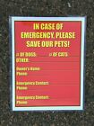 """Pet Emergency Information 9x11.5"""" Sign - Cats / Dogs - Fill In With Your Info"""