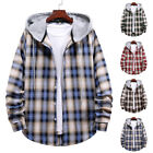 Men's Single Breasted Checked Shirt Tops Long Sleeve Hooded Sweatshirt Blouse