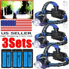Tactical 350000LM Zoomable  LED Rechargeable Headlamp Headlight Torch & Charger