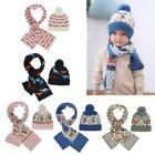Kids Knitted Christmas Hat Scarf Set Toddler Baby Beanie Cap Winter Warm Hat