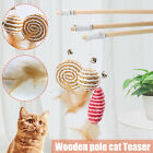 40cm Wooden Kitten Cat Pole Toy Mouse On A Rod Teaser Bell Feather Play Pet Wand