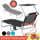 Sun Lounger Folding Recliner Chair Portable Reclining Garden Outdoor Seat Bed UK